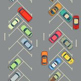 Urban cars seamless texture parking with cars. Urban cars seamless texture. Vector background. Parking with cars illustration Royalty Free Stock Image