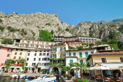 Urban center of Town Limone Sul Garda, Lake Garda Stock Photos