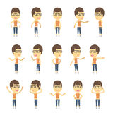 Urban character set in different poses. simple Royalty Free Stock Photos