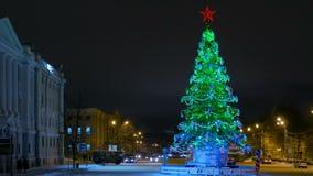 Urban Christmas tree at night, Russia, Nizhny Novgorod stock footage