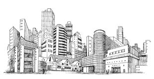 Urban city. Silhouette pen drawing Royalty Free Stock Photos