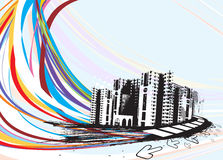 Urban city. Abstract urban city on a rainbow wave line background, vector illustration royalty free illustration