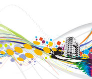 Urban city. Abstract grunge urban city on a rainbow wave line background, vector illustration Stock Photos