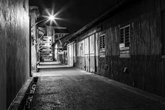 Urban city alley at night Stock Photo