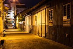 Urban city alley at night Royalty Free Stock Images