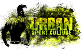 Urban city art. Street sport graphic style. Fashion stylish print. Template apparel, card, label, poster. emblem, t-shirt stamp gr. Aphics. Handwritten banner royalty free illustration