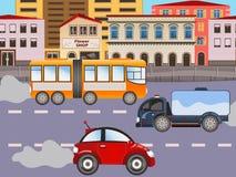 Urban city background. Vector illustration of urban city background with car and a truck vector illustration