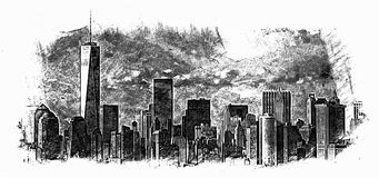 Urban City Buildings Sketch Royalty Free Stock Photo
