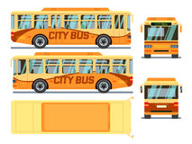 Urban, city bus in different view positions. Vector illustration Royalty Free Stock Image