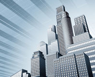 Urban city business background. Abstract blue corporate city skyscraper business background Stock Photos
