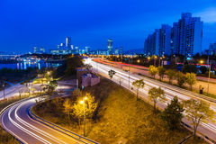 Urban city and busy traffic in Seoul Royalty Free Stock Photos