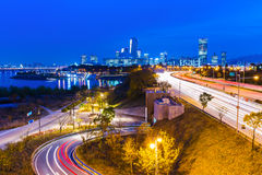 Urban city and busy traffic in Seoul Stock Photos