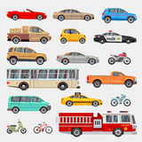 Urban, city cars and vehicles transport vector flat icons set Stock Photography