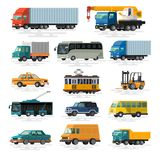 Urban, city cars and vehicles transport vector flat icons set. Colorful illustrations Stock Photography