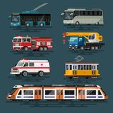 Urban, city cars and vehicles transport vector flat icons set. vector illustration