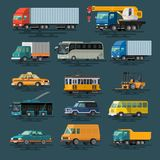 Urban, city cars and vehicles transport vector flat icons set. Colorful illustrations Royalty Free Stock Photography