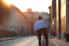Urban, city cyclist from behind Royalty Free Stock Images