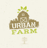 Urban City Farm Organic Eco Concept. Healthy Food Vector Design Element On Craft Paper Background.  Stock Images