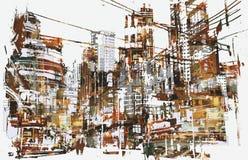 Urban city with grunge texture Stock Photo