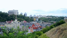 Urban city with hills landscape, kiev cityscape, stock video