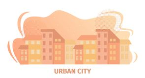 Urban City Horizontal Banner with Cityscape View. stock illustration