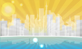 Urban city illustration. Morning in abstract city background Vector Illustration