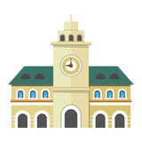 Urban City Illustration Building with Clock. Royalty Free Stock Images