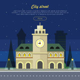 Urban City Illustration at Night Time. Building Stock Photo