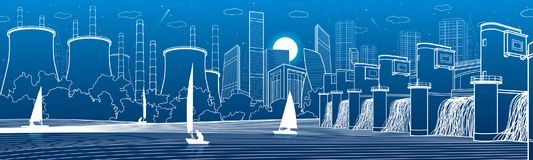 Urban City Infrastructure panoramic. Hydroelectric power station at river. Modern town. Factory thermal power plant. Yachts on th. E water. White lines on blue royalty free illustration