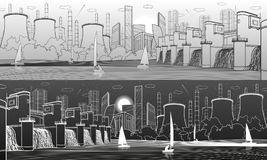 Urban City Infrastructure panoramic. Hydroelectric power station at river. Modern town. Factory thermal power plant. Yachts on th. E water. Lines illustration vector illustration