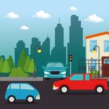 Urban city landscape. Vector illustration graphic design Royalty Free Stock Photography