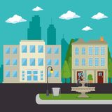 Urban city landscape. Vector illustration graphic design Royalty Free Stock Photos