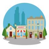 Urban city landscape. Vector illustration graphic design Royalty Free Stock Photo