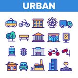 Urban, City Life Thin Line Icons Set vector illustration
