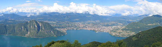 Urban city on the Lugana lac. Urban city on the bank of the lake - Lugano lake - Switzerland - Panorama Stock Photography