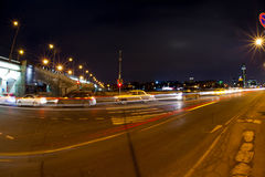 Urban city night road. With car light trails at night Royalty Free Stock Photography