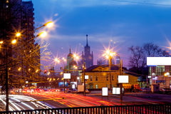 Urban city night road. Urban city road with car light trails at night Stock Image