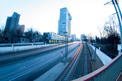 Urban city night road. Moscow city road with car light trails at night Stock Images