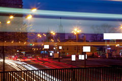 Urban city night road. Moscow city road with car light trails at night Royalty Free Stock Photos