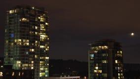 Urban city night view stock video footage