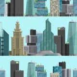 Urban City outdoor landscape skyscraper house outdoor seamless pattern background cityspace vector illustration Stock Image
