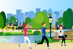Urban city park outdoors man woman running wooden bench street lamp river green lawn trees on city buildings template. Background flat vector illustration royalty free illustration
