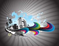 Urban city party. Abstract urban skylines background with urban city party, vector illustration Stock Photography