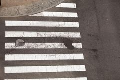 Urban city pedestrian zebra crossing top view Royalty Free Stock Photography