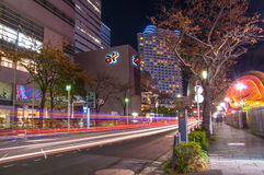 Urban city road with car light trails Royalty Free Stock Images