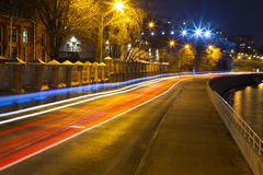Urban city road. With car light trails at night Royalty Free Stock Images