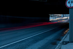 Urban city road. With car light trails at night Royalty Free Stock Photos
