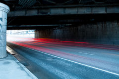 Urban city road. With car light trails at night Stock Photos