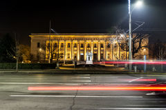 Urban city road with car light trails in Sofia,Bulgaria Stock Image
