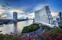 Urban City Skyline, Chao Phraya River, Bangkok, Thailand. Stock Images